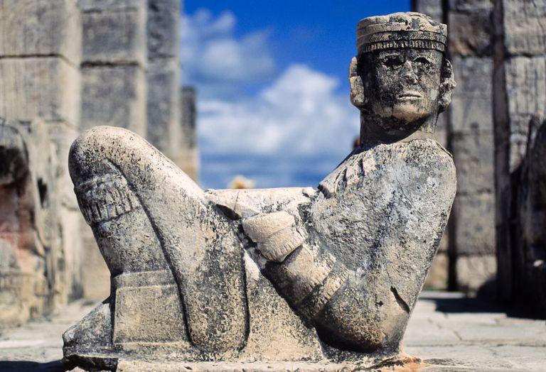 Chac Mool statue in the Temple of Warriors, Chichen Itza Maya ruins, Yucatan, Mexico