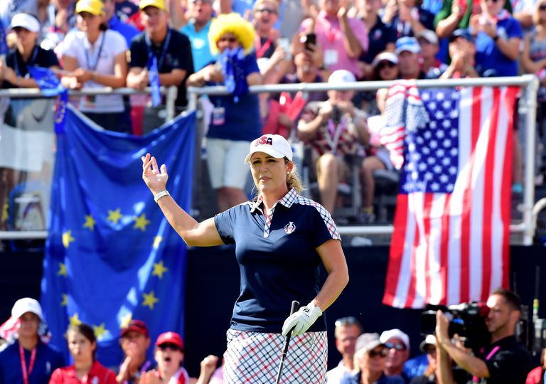 Cristie Kerr on the first tee at the 2017 Solheim Cup