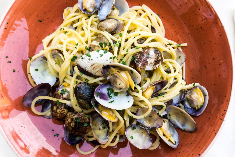 Close-Up Of Spaghetti With Clams In Plate