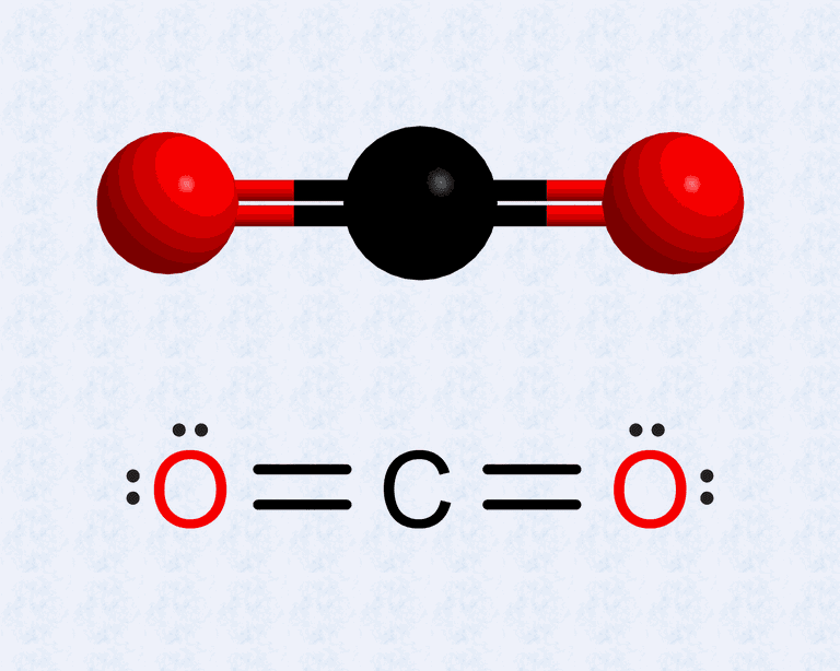 This is the Lewis structure of carbon dioxide along with its ball and stick model.