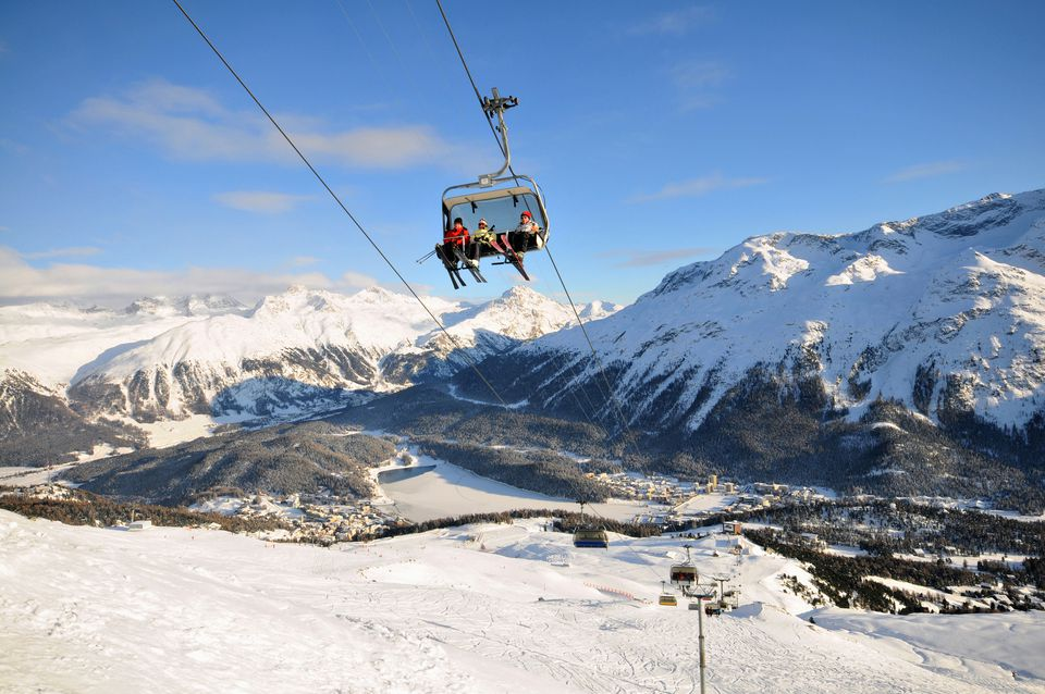 Ski lift, ski area Corviglia, St Moritz, Engadin, Grisons, Switzerland