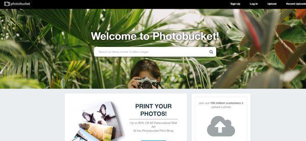 The homepage of Photobucket