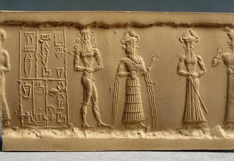 Clay impression of a cylinder seal depicting adoration scene from Nippur, Iraq, detail, Akkadian civilization, 2330-2150 B.C.