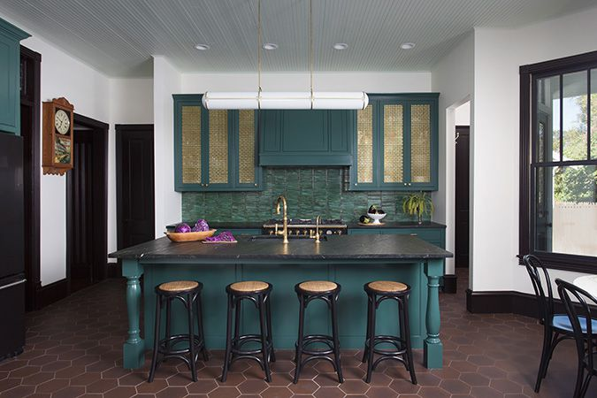 teal and green kitchen