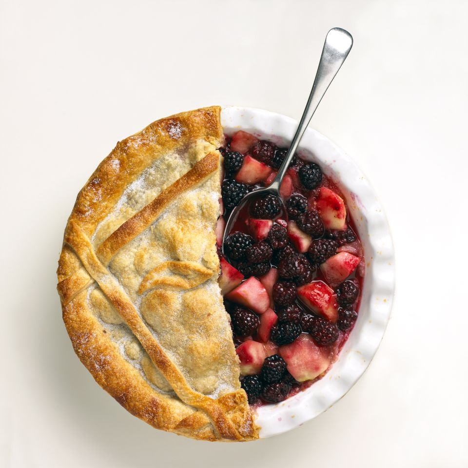 Blackberry and apple pie with half the crust removed