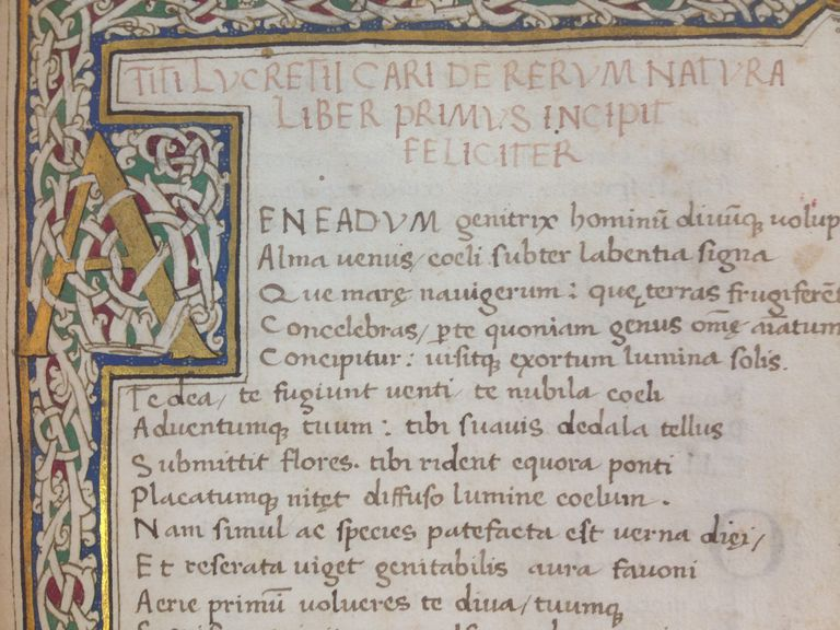 The beginning of a manuscript of Lucretius' De Rerum Natura