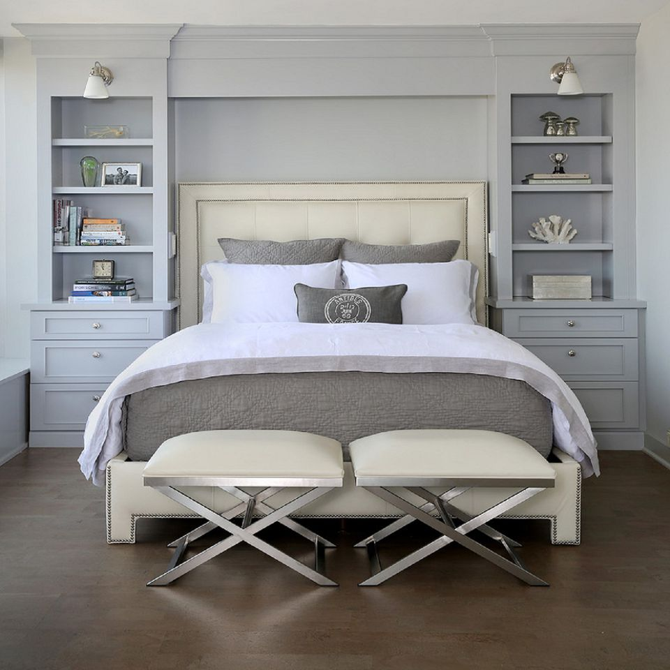 gray and white bedroom - Master Bedroom Design Ideas