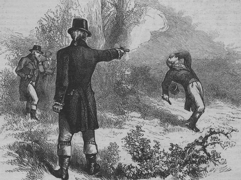 Burr and Hamilton Duel An engraved illustration