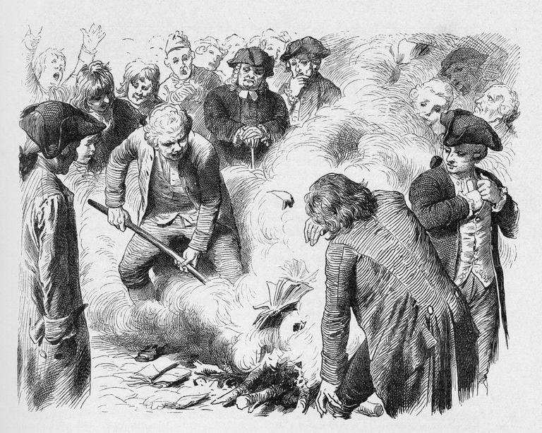19th century illustration of people burning books