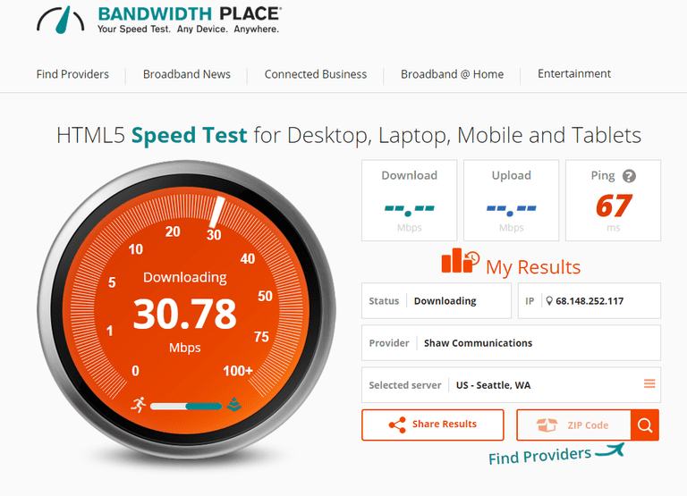 Bandwidthplace.com speed test