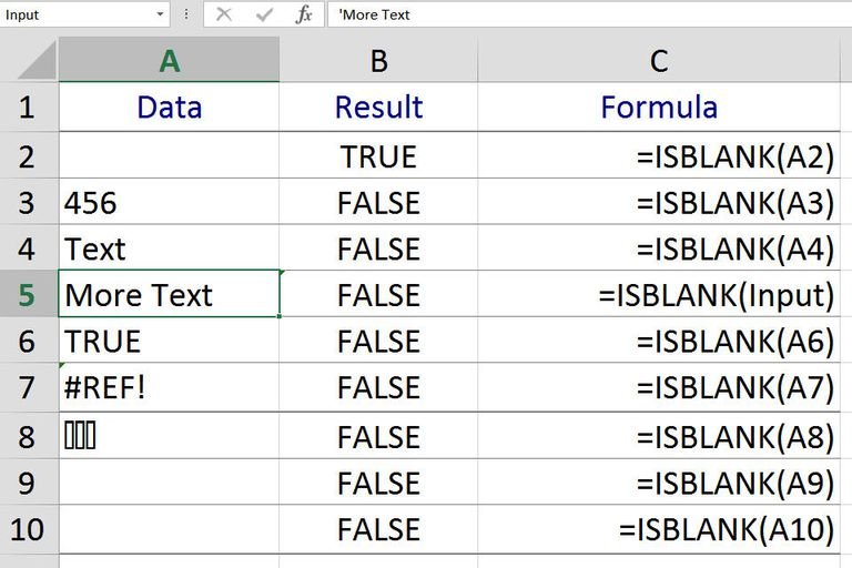 Find Empty or Blank Cells with Excel's ISBLANK Function