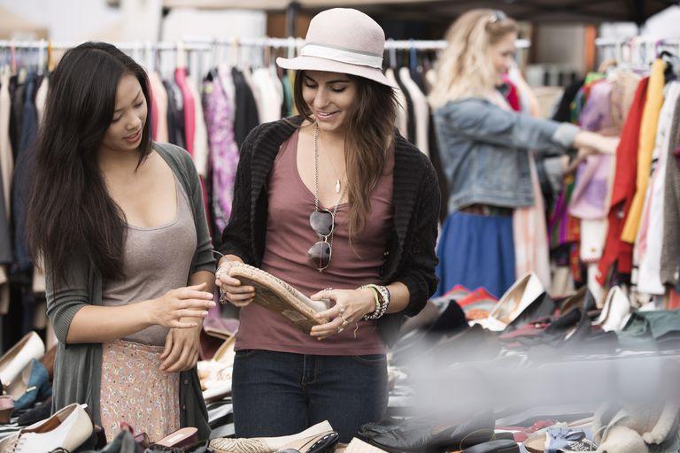 Friends shopping at flea market