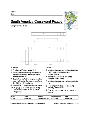 South America Word Search Crossword Puzzle and More