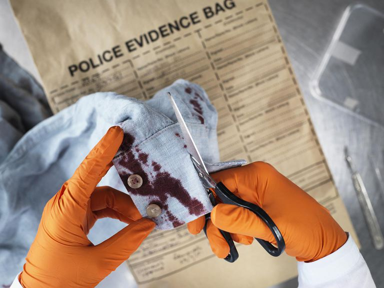 evidence technician cutting up bloody clothing