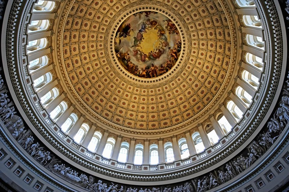 The Dome Of The U S Capitol Building Viewed From Below