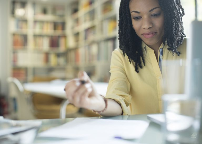 A woman studying accounting