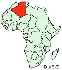 A map showing the location of the People's Democratic Republic of Algeria in Africa.