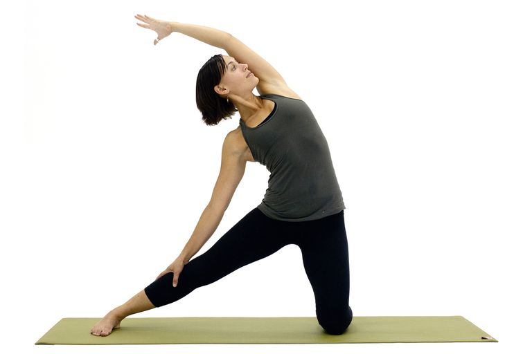 woman doing gate pose