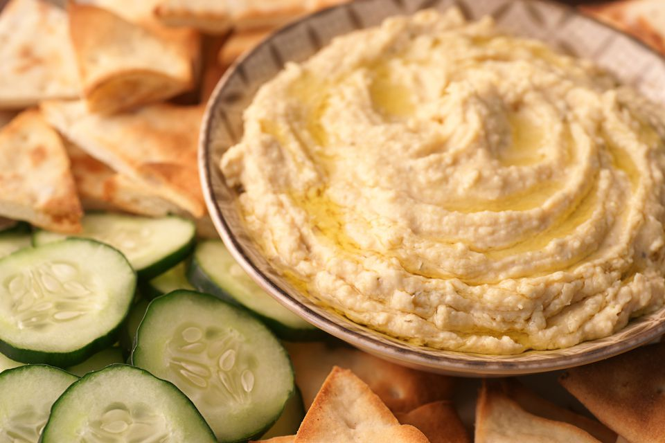 Easy hummus with tahini and lemon recipe hummus with pita bread and cucumbers forumfinder Image collections