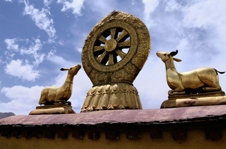 Sheep and Ram with Tibetan Wheel