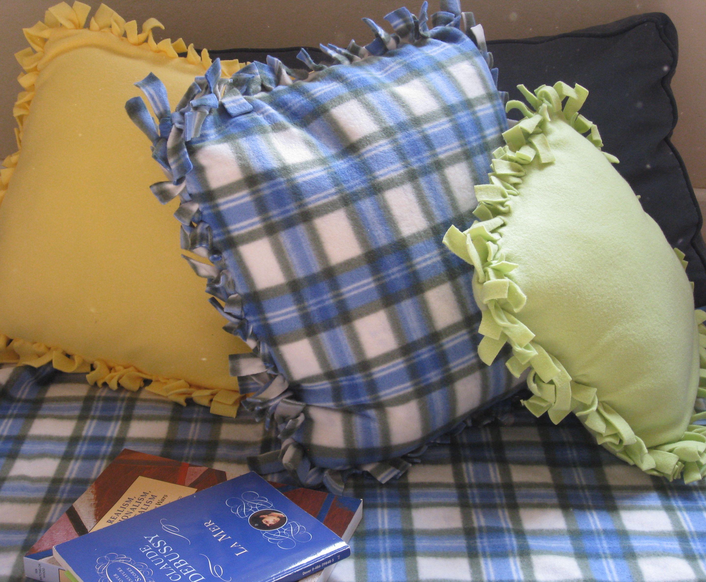 Dorm Crafts Easy No Sew Fleece Pillows