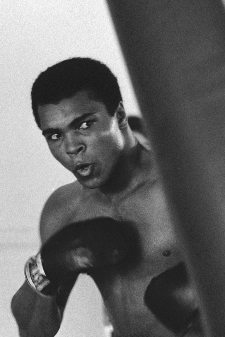 American heavyweight boxing champion Muhammad Ali training at Chris Dundee's 5th Street gym, Miami Beach, 1971.
