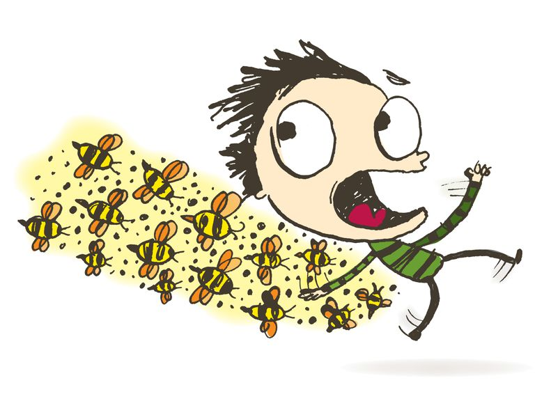 Man chased by bees