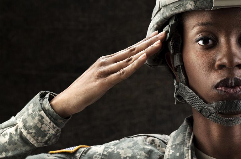female African American in army camouflage