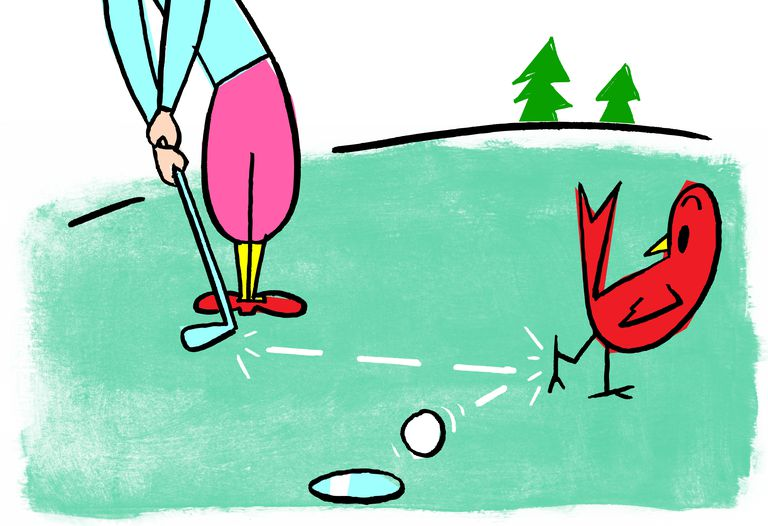 Illustration showing a little birdie knocking golf ball into cup