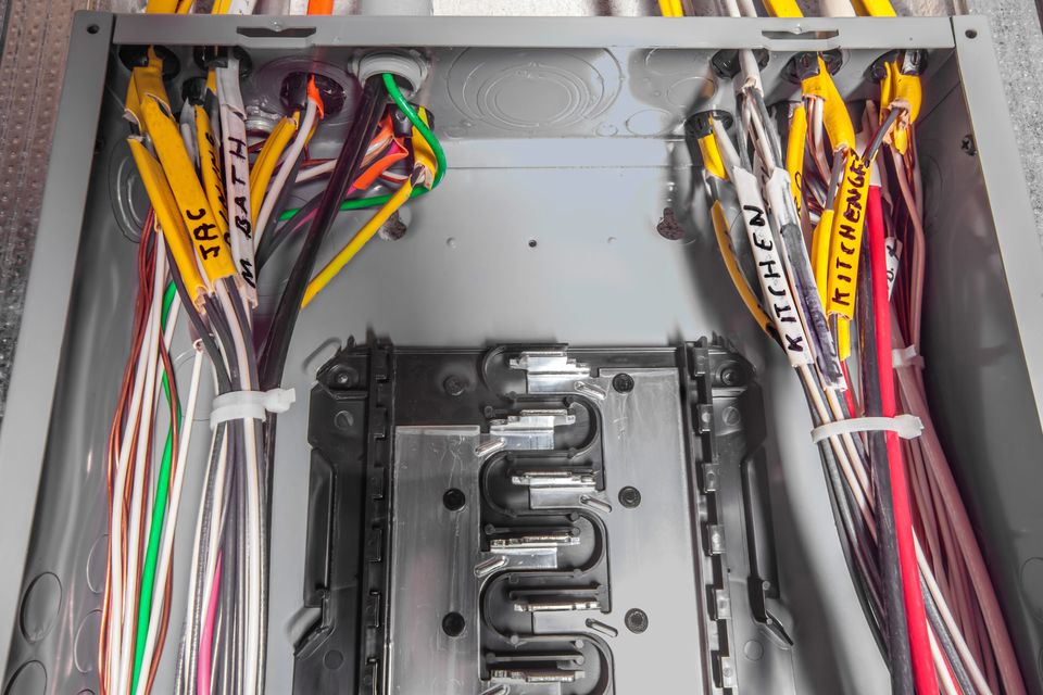 An overview of wiring an electrical circuit breaker panel circuit breaker wires greentooth Image collections