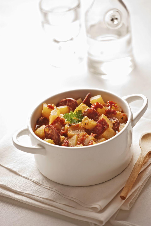 Spanish potato soup with rioja wine