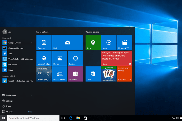 Screenshot of the Windows 10 Start Menu and desktop