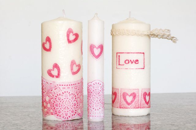 Decorate candles with rubber stamps