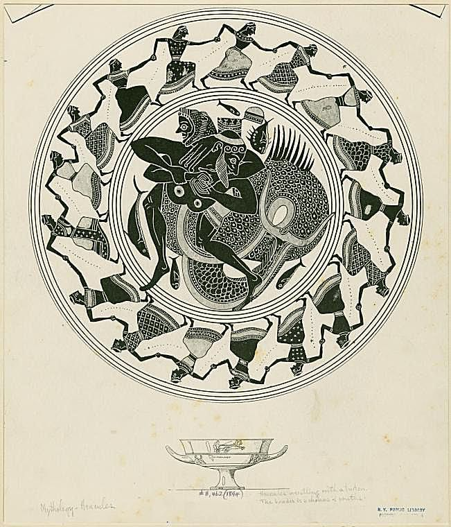 Image ID: 1623849 [Kylix depicting Hercules wrestling with Triton.] (1894)