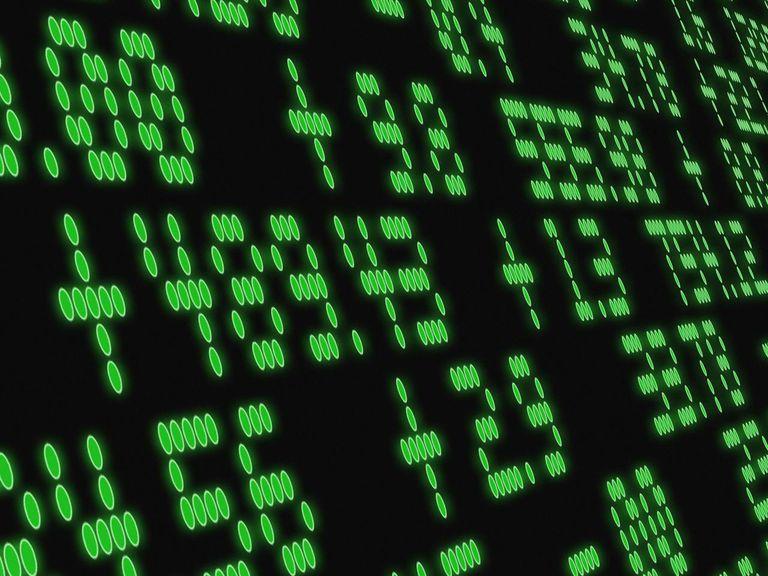 Green stock market ticker board numbers