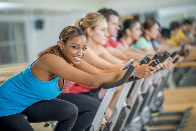 Woman Taking a Spin Class