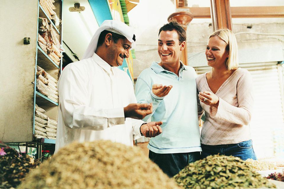Couple looking at spices at a spice market