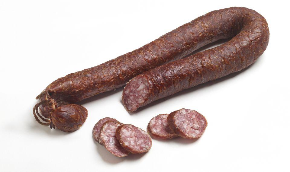 Whole and sliced smoked sausage