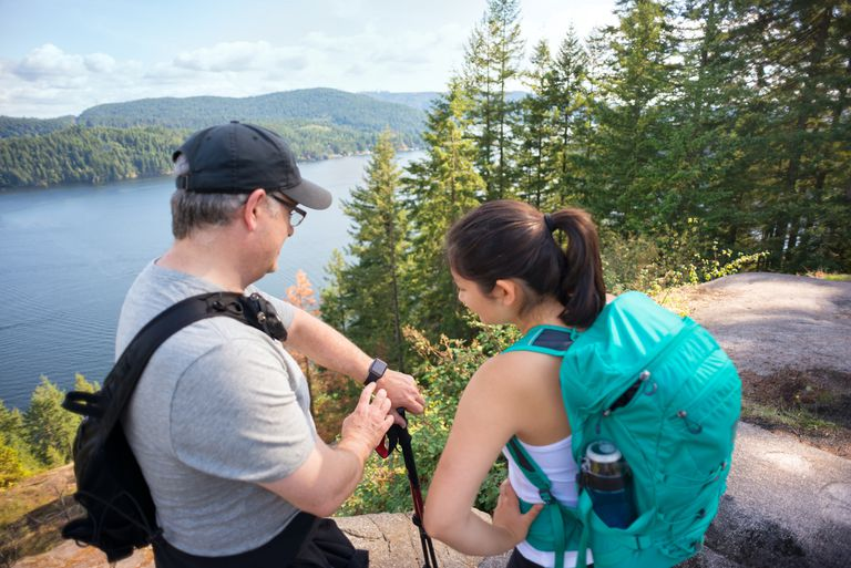 Checking Fitness Band While Hiking