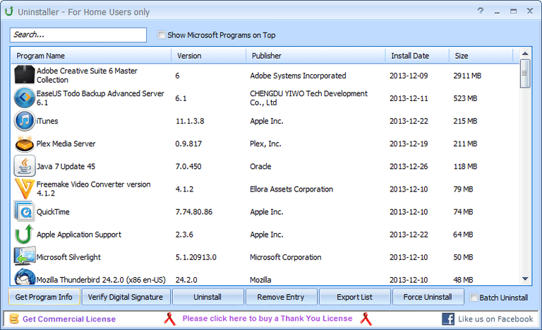 Screenshot of Puran Uninstaller v3.0 in Windows