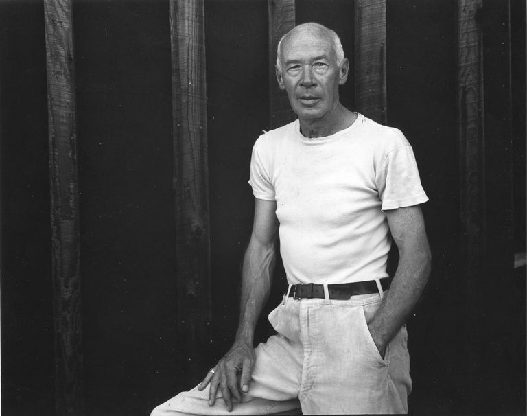 Portrait of the author Henry Miller (1891 - 1980), wearing a white shirt, California, mid twentieth century.