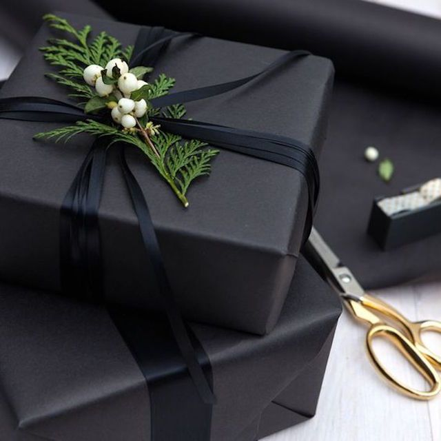 Modern gift wrapping in matte black