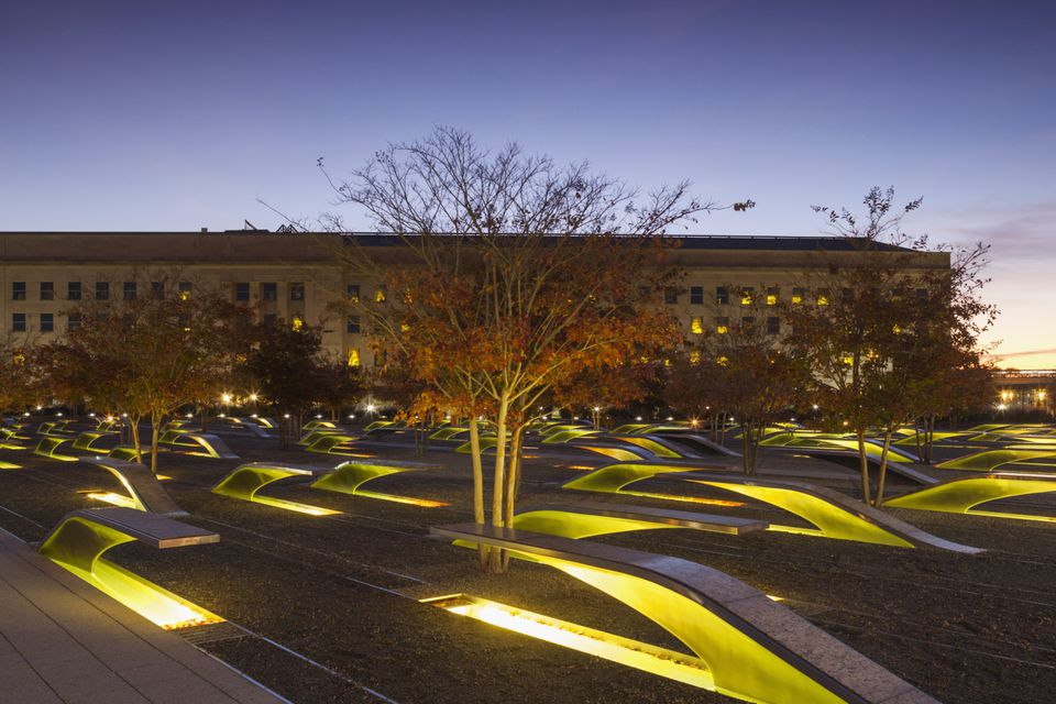 Photo of the Pentagon Memorial at Dawn