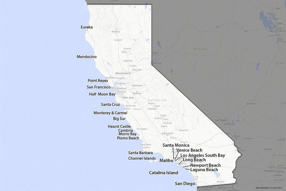 Map of the California Coast