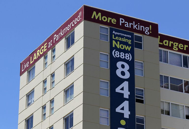 A lease sign is posted on one of the towers at the Parkmerced apartment complex May 26, 2010 in San Francisco, California.