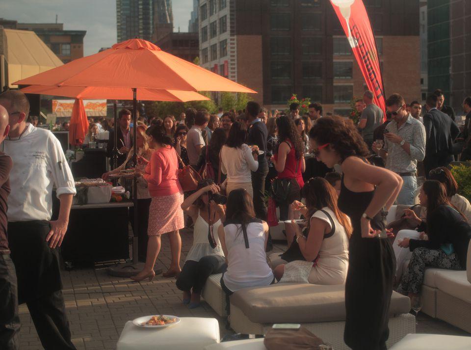 Hyatt Terrasse Six Resto Lounge's terrace patio and gardens in Montreal.