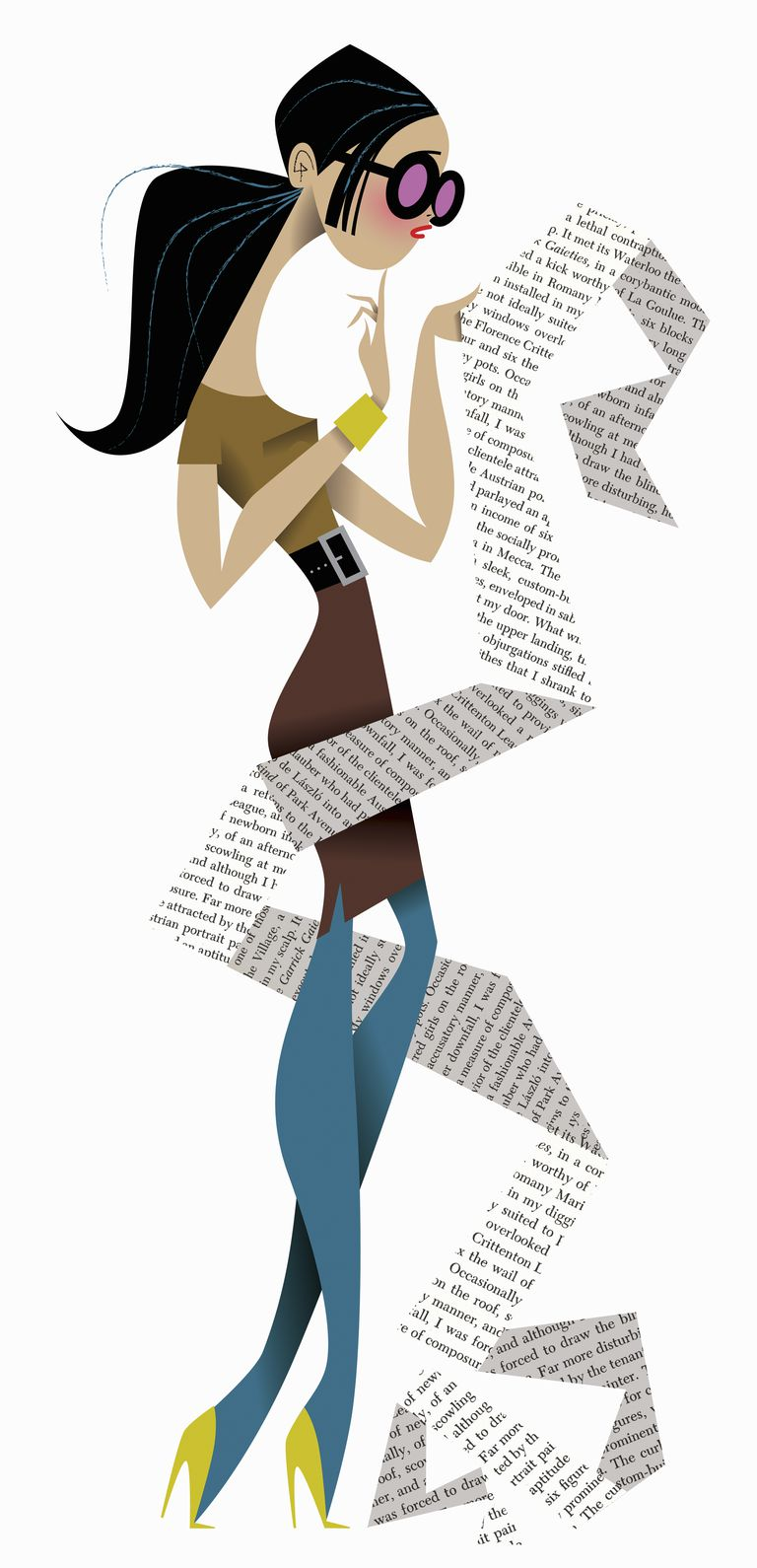Cartoon of woman with list.