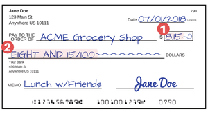 Sample check with highlighted area where the amount is written in dollars and cents.