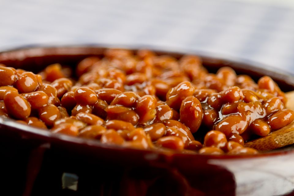 Pot of Baked Beans on a Blue Gingham