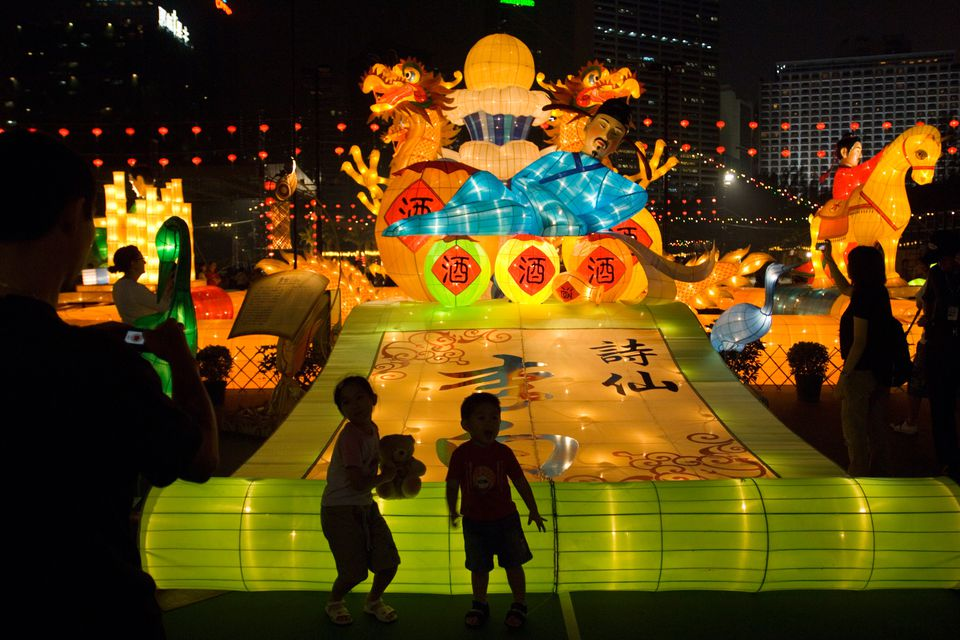 Giant lanterns displayed in Victoria Park for the Mid-Autumn Festival, Causeway Bay. Hong Kong, Hong Kong, China, North-East Asia, Asia